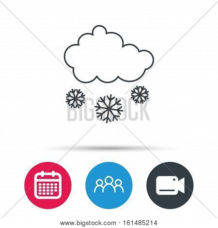 Snow icon. Snowflakes with cloud sign. Snowy overcast symbol. Group of people, video cam and calendar icons. Vector