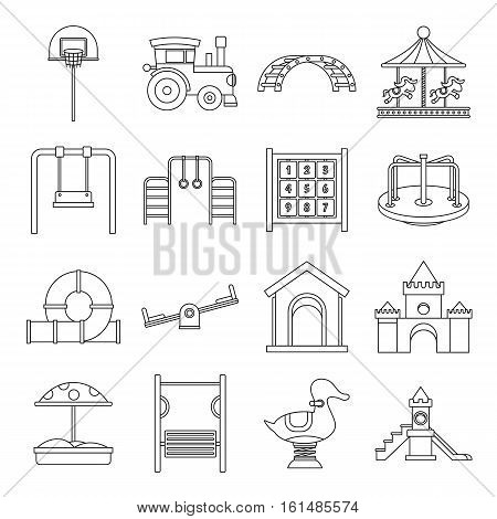 Playground icons set. Outline illustration of 16 playground vector icons for web