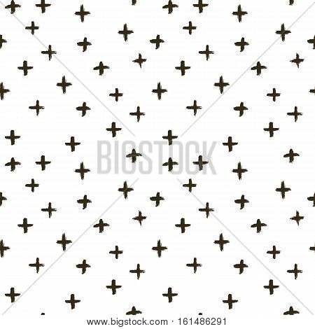 Vector memphis doodle pattern with crosses, made of brush stroke. Black and white seamless background.