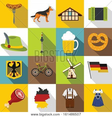 Germany icons set. Flat illustration of 16 Germany travel items vector icons for web