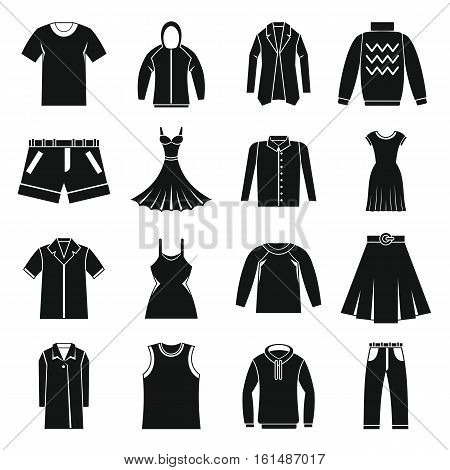 Different clothes icons set. Simple illustration of 16 different clothes items vector icons for web