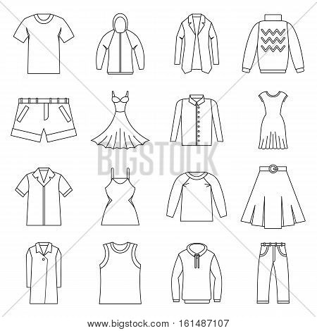 Different clothes icons set. Outline illustration of 16 different clothes items vector icons for web