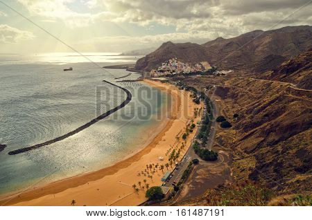 Aerial View Of Playa De Las Teresitas Near Santa Cruz De Tenerife. Overcast Cloudy Beach Landscape.