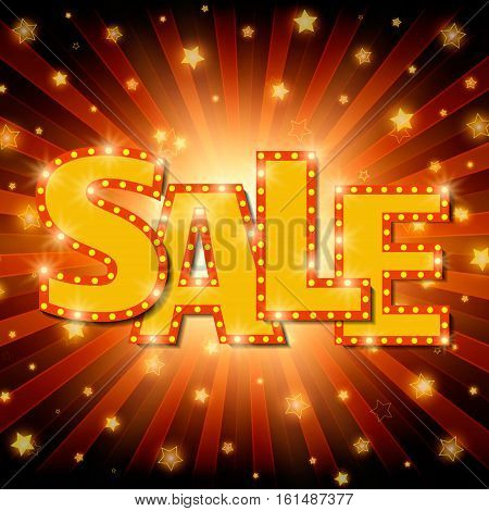 Shine sale on shining stars background. Vector illustration