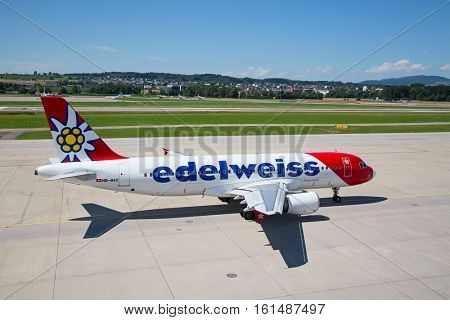 ZURICH - July 30:  Planes preparing for take off at Terminal A of Zurich Airport on July 30, 2016 in Zurich, Switzerland. Zurich airport is home port for Swiss Air and one of the european hubs.