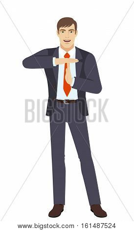 Businessman showing time-out sign with hands. Body language. Full length portrait of businessman in a flat style. Vector illustration.