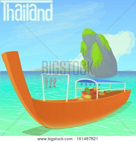 Thailand beach concept. Cartoon illustration of Thailand beach vector concept for web