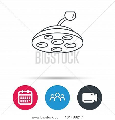 Surgical lamp icon. Surgeon light sign. Group of people, video cam and calendar icons. Vector