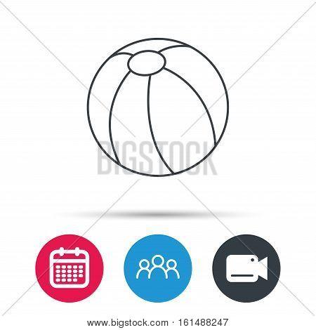 Swimming ball icon. Beach toy sign. Group of people, video cam and calendar icons. Vector
