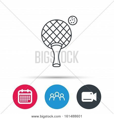 Table tennis icon. Ping pong sign. Professional sport symbol. Group of people, video cam and calendar icons. Vector