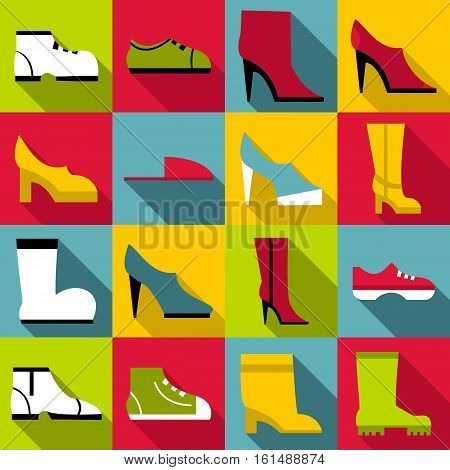 Footwear icons set. Flat illustration of 16 footwear vector icons for web