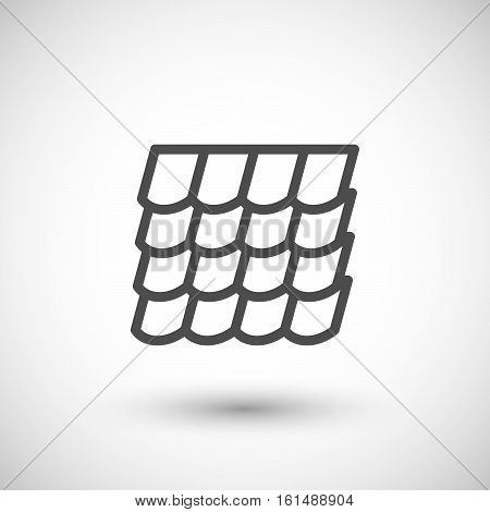 Roof tile line icon isolated on grey. Vector illustration