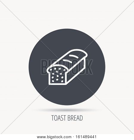 Toast icon. Sliced bread sign. Bakery symbol. Round web button with flat icon. Vector
