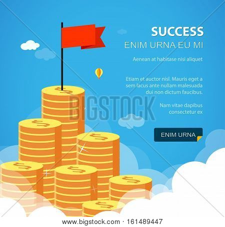 Huge growth money stairs in sky with flag. Success financial rich concept. Business concept vector illustration. Flat style