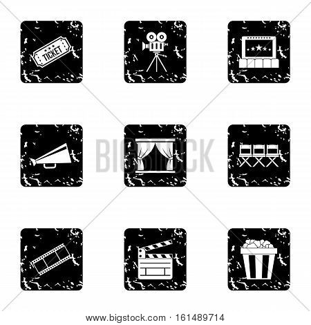 Movie icons set. Grunge illustration of 9 movie vector icons for web