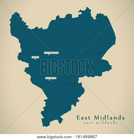 Modern Map - East Midlands Uk England Illustration