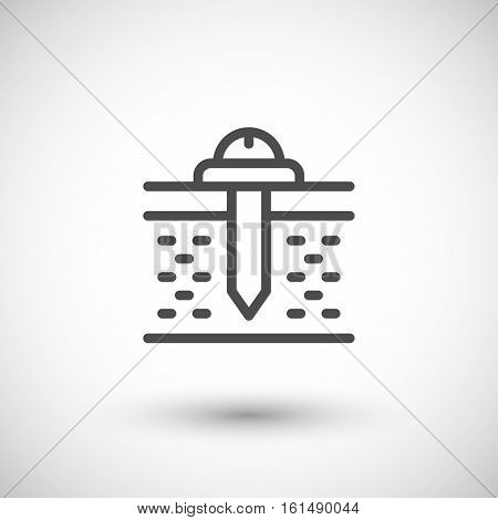 Fasteners line icon isolated on grey. Vector illustration