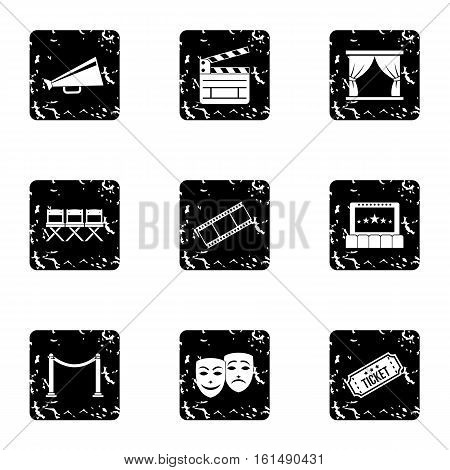 Cinema icons set. Grunge illustration of 9 cinema vector icons for web
