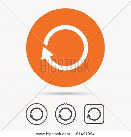 Update icon. Refresh or repeat symbol. Orange circle button with web icon. Star and square design. Vector