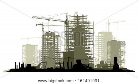 Line of silhouettes illustration of construction site with cranes and skyscraper with tractors bulldozers excavators and grader in green tone.