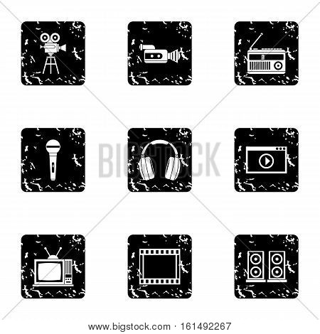 Broadcasting icons set. Grunge illustration of 9 broadcasting vector icons for web