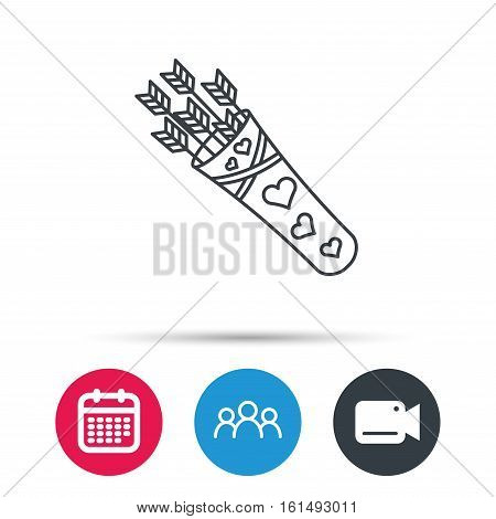 Cupid arrows icon. Love weapon sign. Group of people, video cam and calendar icons. Vector