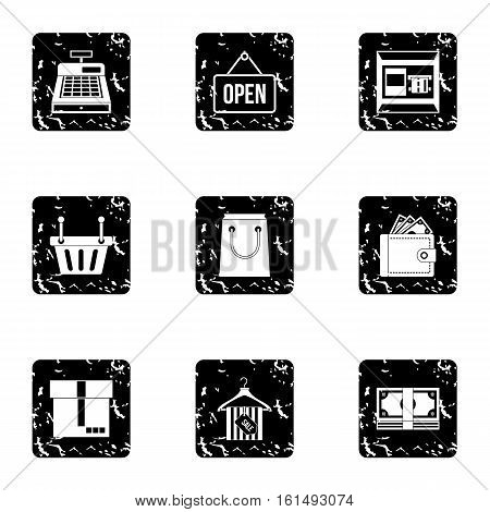 Purchase icons set. Grunge illustration of 9 purchase vector icons for web
