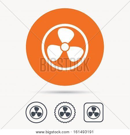 Ventilation icon. Air ventilator or fan symbol. Orange circle button with web icon. Star and square design. Vector