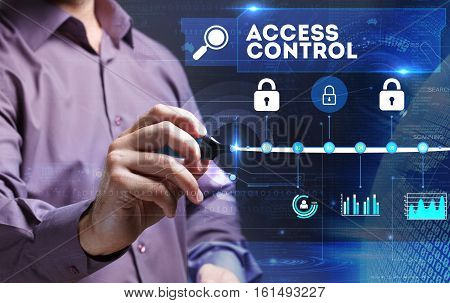 Technology, Internet, Business And Marketing. Young Business Person Sees The Word: Access Control