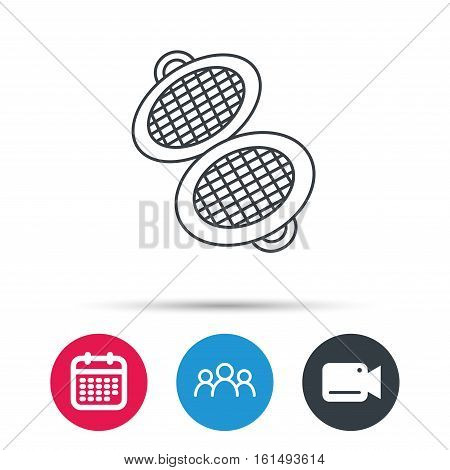 Waffle iron icon. Kitchen baking tool sign. Group of people, video cam and calendar icons. Vector