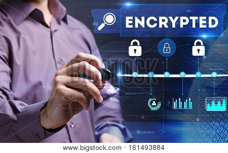 Technology, Internet, Business And Marketing. Young Business Person Sees The Word: Encrypted