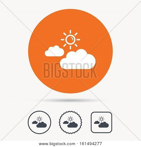 Cloud with sun icon. Sunny weather symbol. Orange circle button with web icon. Star and square design. Vector