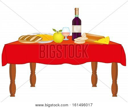Covered table with meal and drink on white background