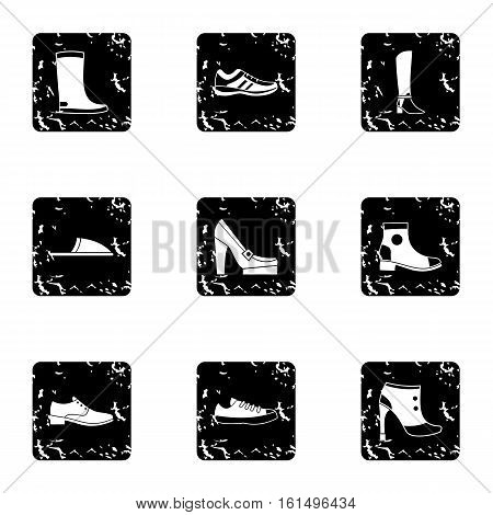 Shoes icons set. Grunge illustration of 9 shoes vector icons for web