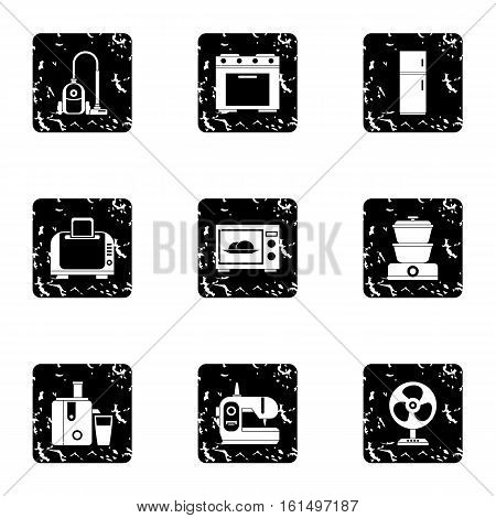 Technique icons set. Grunge illustration of 9 technique vector icons for web