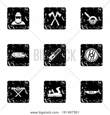 Cleaver icons set. Grunge illustration of 9 cleaver vector icons for web