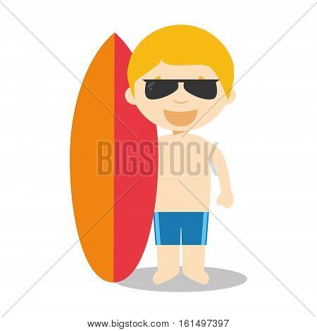 Character from Australia dressed in the traditional way as a surfer with his surfboard. Vector Illustration. Kids of the World Collection.