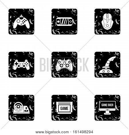 Computer games icons set. Grunge illustration of 9 computer games vector icons for web