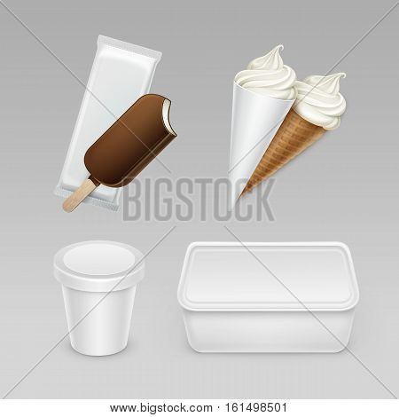 Vector set of Chocolate Popsicle Choc-ice Lollipop Soft Serve Ice Cream Waffle Cone with Plastic White Wrapper and Box Container for Package Design Mock up Close up Isolated on Background.