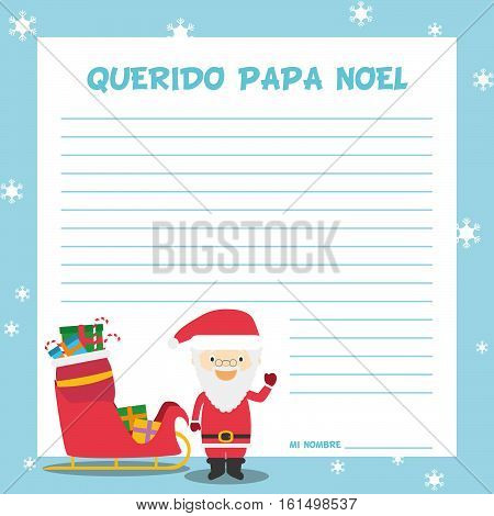 Papa Noel letter template vector illustration for Christmas time in Spanish, with child character, sled and presents.