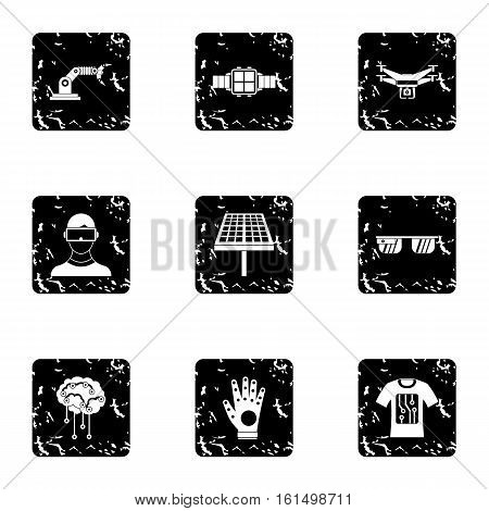 Innovative device icons set. Grunge illustration of 9 innovative device vector icons for web