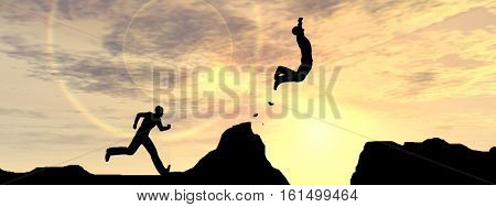 Concept or conceptual young 3D illustration man or businessman silhouette jump happy from cliff over  gap sunset or sunrise sky background banner