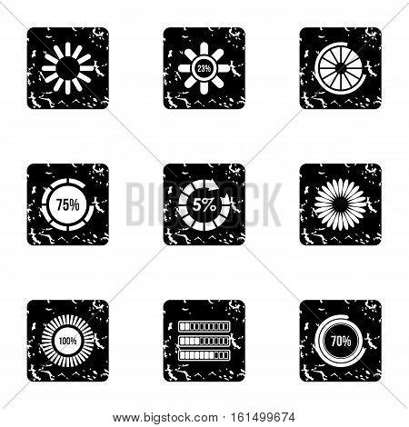 Download icons set. Grunge illustration of 9 download vector icons for web