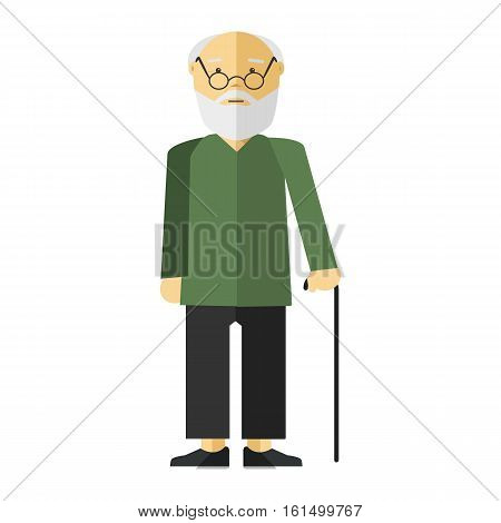 Old lady man or grandfather. Icon of elderly male person with smile. Cartoon character in flat style. Vector isolated illustration on white background.