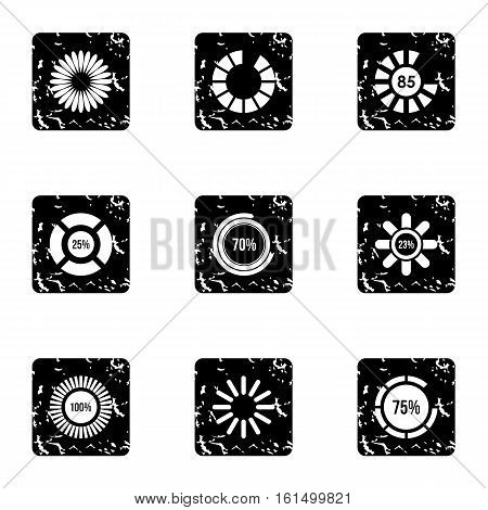 Loading and waiting icons set. Grunge illustration of 9 loading and waiting vector icons for web