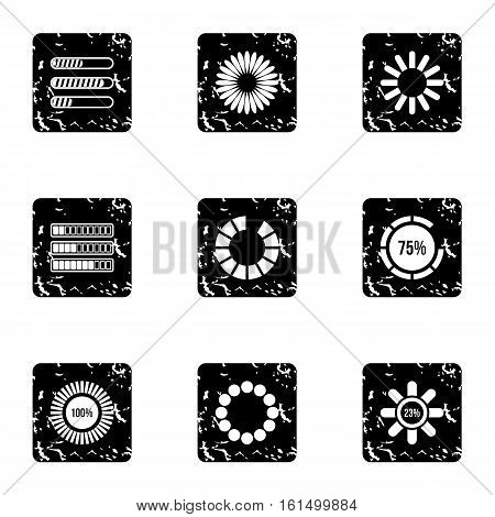 Download page icons set. Grunge illustration of 9 download page vector icons for web