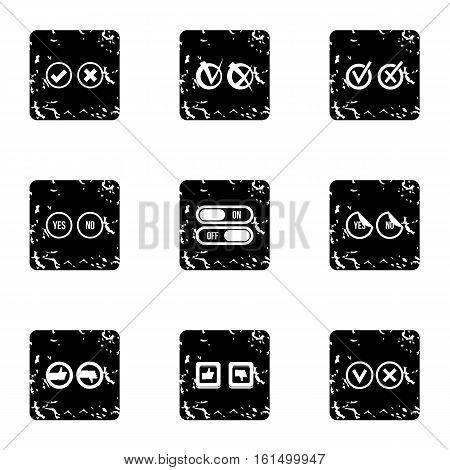 Choice icons set. Grunge illustration of 9 choice vector icons for web