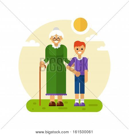Vector flat design illustration of smiling boy with freckles on a walk with disabled grandmother in glasses with stick. Grandma keeping grandson's hand. Disability & Family helping concept for banner