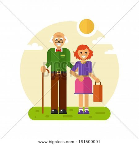Vector flat design illustration of smiling girl with freckles helps carry bag of disabled grandfather in glasses with stick. Grandpa keeping granddaughter's hand. Disability & Family helping concept.