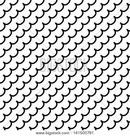 Wave geometric seamless pattern. Fashion graphic background design. Modern stylish abstract monochrome texture. Template for prints textiles wrapping wallpaper website. Stock VECTOR illustration
